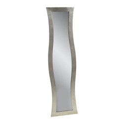Bassett Mirror - Shaped Rectangle Dressing Mirror - Silver Finish - Cheval.