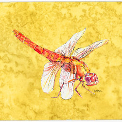 Caroline's Treasures - Dragonfly On Yellow Kitchen Or Bath Mat 24X36 - Kitchen or Bath COMFORT FLOOR MAT This mat is 24 inch by 36 inch. Comfort Mat / Carpet / Rug that is Made and Printed in the USA. A foam cushion is attached to the bottom of the mat for comfort when standing. The mat has been permenantly dyed for moderate traffic. Durable and fade resistant. The back of the mat is rubber backed to keep the mat from slipping on a smooth floor. Use pressure and water from garden hose or power washer to clean the mat. Vacuuming only with the hard wood floor setting, as to not pull up the knap of the felt. Avoid soap or cleaner that produces suds when cleaning. It will be difficult to get the suds out of the mat
