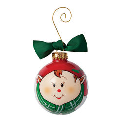 """Exposures - Hand Painted Elf Ornament - Overview This darling glass ornament is hand painted to add a special touch to your tree. Order one for a family member or pet to create an adorable family display. Gold-tone curled wire hanger and coordinating ribbon included.   Features Glass Ornament Includes gold-tone curled wire hanger and coordinating ribbon  Specifications  3"""" diameter ornament"""