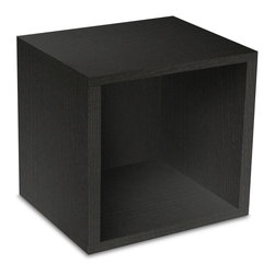 Way Basics - Super Cube, Black - Sometimes, bigger is better — especially if you've got vinyl LPs, full-size photo albums and coffee table books to store. With easy peel-and-stick construction, you'll put together a formaldehyde- and VOC-free super cube in no time. And your stuff? Stowed!