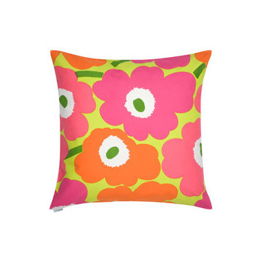 Pieni Unikko Pillow Sham - When I think of bold blooms and bright hues, Swedish design house Marimekko is the first brand that comes to mind. An updated neon take on a classic design, this pillow will certainly fit the bill for spring.