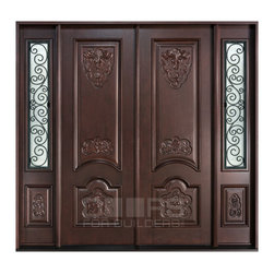 Heritage Collection (Custom Solid Wood Doors) - Custom Mahogany Entry Unit - Double Doors with Sidelites - Wrought Iron - Doors For Builders Inc.