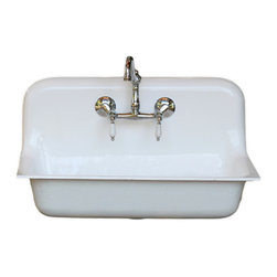 "Consigned 30"" High Back 1932 Cast Iron Porcelain Farmhouse Sink Refinished - 30"" Drop In High Back 1932 Cast Iron Porcelain Farmhouse Sink Professionally Refinished with New Faucet, Drain and Strainer!"