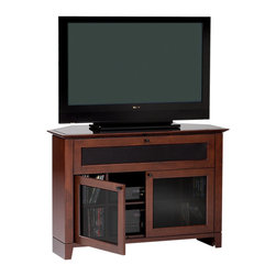 BDI - Novia Corner TV Stand, Single Wide, Cocoa - The Novia Corner TV Stand is designed to make the most of otherwise unused space. Designed to fit comfortable into any corner, the Novia Corner TV Stand features IR friendly glass doors that offer abundant storage space. the top shelf supports up to 150 lbs and the Novia Corner TV Stand is designed to support up to 50 inch flat screen TVs.