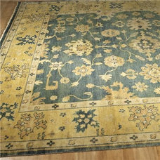 Traditional Rugs Antique Reproduction Citrine & African Jade Oushak Rug
