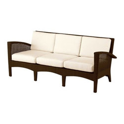 Woodard - Woodard Trinidad Sofa - Even the name Trinidad evokes the tropics and the laid-back relaxation you�ll enjoy with your Trinidad patio dining set or any of the other beautiful pieces making up this collection. You get the look and feel of wicker furniture adding style and beauty to your outdoor living but with all season practicality built right in. Woodard uses high quality synthetic fibers and then hand weaves them over durable aluminum frames so you have worry-free outdoor living right from the start. The result is a wicker patio furniture set that will last and look exotic on your patio deck or three-season porch for many years.The Trinidad wicker patio furniture set includes a cushioned sofa loveseat lounge chair adjustable chaise lounges and barrel-style patio dining chair. In fact you may also want to get a couple of the Trinidad wicker coffee tables to complete the outdoor conversation area and give your guests a place to put their Pi�a Coladas and canap�s while they relax. Take a trip to the tropics today with the Trinidad collection.The name Woodard Furniture has been synonymous with fine outdoor and patio furniture since the 1930s continuing the company�s furniture craftsmanship dating back over 140 years. Woodard began producing hand-made wrought iron furniture which led the company into cast and tubular aluminum furniture production over the years.� Most recently Woodard patio furniture launched its entry into the all-weather wicker furniture market with All Seasons which is expertly crafted and woven using synthetic wicker supported by an aluminum frame.� The company is widely known for durable beautiful designs that provide attractive and comfortable outdoor living environments.� Its hand-crafted technique used to create the intricate design patterns on its wrought iron furniture have been handed down from generation to generation -- a hallmark of quality unmatched in the furniture industry today. With deep seating slings and metal seating options in a variety of styles Woodard Furniture offers the designs you want with the quality you expect.  Woodard aluminum furniture is distinguished by the purest aluminum used in the manufacturing process resulting in an extremely strong durable product which still can be formed into flowing shapes and forms.� The company prides itself on the fusion of durability and beauty in its aluminum furniture offerings. Finishes on Woodard outdoor furniture items are attuned to traditional and modern design sensibilities. Nineteen standard frame finishes and nineteen premium finishes combined with more than 150 fabric options give consumers countless options to design their own dream outdoor space. Woodard is also the exclusive manufacturer of outdoor furnishings designed by Joe Ruggiero home decor TV personality.� The Ruggiero line includes wrought iron aluminum and all weather wicker designs possessing a modern aesthetic and fashion-forward styling inspired by traditional Woodard patio furniture designs. Rounding out Woodard�s offerings is a line of distinctive umbrellas umbrella bases and outdoor accessories.� These offerings are an integral part of creating a complete outdoor living environment and include outdoor lighting and wall mounted or free standing architectural elements � all made with Woodard�s unstinting attention to detail and all weather durability. Woodard outdoor furniture is an American company headquartered in Coppell Texas with a manufacturing facility in Owosso Michigan.� Its brands are known under the names of Woodard Woodard Landgrave and Woodard Lyon Shaw. With a variety of collections Woodard produces a wide array of collections that will be sure to suit any taste ranging from traditional to contemporary and add comfort and style to any outdoor living space. With designs materials and construction that far surpass the industry standards Woodard Patio Furniture creates beauty and durability that is unparalleled.  Features include Hand woven over an all-aluminum frame Built to stay comfortable and attractive season after season comfortable seat and back cushions High quality synthetic fibers Best strength to weight ratios Unique look of wicker furniture will add style and beauty to your outdoor setting Offered in wide variety of fabric options for cushions Super comfortable high quality cushions designed for extreme comfort Commercial Grade. Specifications Seat Height: 18.1 inches.