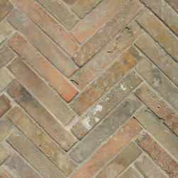 French Terracotta Parefeuille Strips - Reclaimed Antique French Parefeuille Tiles cut into strips for flooring, backsplashes, firebox lining, etc..  Warm mediterannean colors create an instant vintage atmosphere and present a interesting alternative to full size Parefeuille or other reclaimed Terracotta tiles.