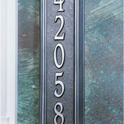 Manchester Vertical Address Plaque - Nice and sturdy, this vertical address plaque fits up to five numbers on its elongated faceplate. The arched top gives it that little extra touch. This design works well alongside doorways, on fences, or anywhere you may be limited on installation space.