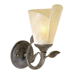 Vaxcel Lighting - Vaxcel Lighting Capri Traditional Wall Sconce X-WB100ULV-PC - This Vaxcel Lighting Capri Traditional Wall Sconce is as captivating as the island with which it shares its name. It has an elegant leaf motif in black walnut finish complemented by an excavation glass shade. It's a wonderful piece that will add a touch of sophistication to any room as it casts a bright and warm glow of light.