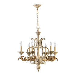 """Quorum - Traditional Quorum Florence 27"""" Wide 6-Light Parisian White Chandelier - Light your living space in classic elegance with the exquisite Florence collection. Large graceful curves and ornate acanthus leaf details offer this six light Parisian white chandelier timeless style rooted in tradition. From the Quorum lighting collection. Parisian white finish. From the Quorum International lighting collection. Takes six 60 watt candelabra bulbs (not included). 30"""" high. 27"""" wide.  Parisian white finish.   From the Quorum International lighting collection.   Takes six 60 watt candelabra bulbs (not included).   30"""" high.   27"""" wide."""