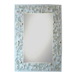 Other Mosaic Mirrors - Custom mixed media and glass mosaic mirror in a white, off white, and cream color scheme.  Materials used include stained glass, glass gems, french unglazed porcelain tile, glass rounds, and a wide variety of glass mosaic tile.  Custom sizes and color schemes available; pricing varies upon size.
