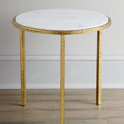 "Global Views - Global Views ""Celinda"" Side Table - Round side table is painted in gold, then enhanced with a marble top for dramatic effect. Made of iron. 16.5""Dia. x 16""T. Imported. Boxed weight, approximately 32.5 lbs. Please note that this item may require additional delivery and processing cha..."