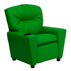 Flash Furniture - Flash Furniture Contemporary Green Vinyl Kids Recliner with Cup Holder - Kids will now be able to enjoy the comfort that adults experience with a comfortable recliner that was made just for them! this chair features a strong wood frame with soft foam and then enveloped in durable vinyl upholstery for your active child. Choose from an array of colors that will best suit your child's personality or bedroom. This petite sized recliner will not disappoint with the added cup holder feature in the armrest that is sure to make your child feel like a big kid! [BT-7950-KID-GRN-GG]