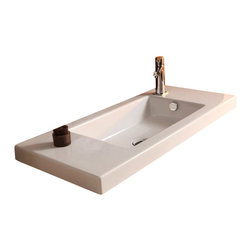 Tecla - Rectangular White Ceramic Wall Mounted, Vessel, or Built-In Sink, One Hole - Modern style rectangular white ceramic wash basin with overflow. Impressive bathroom sink can be wall mounted, above counter, or vanity. Available with no hole or one hole. Made in Italy by Tecla. Rectangular white ceramic sink. Wall mount, vessel, or drop-in. With overflow. ADA compliant. No hole or one hole. From the Tecla Series 35 Collection. Standard drain size of 1.25 inches. Because the sink has multiple installations, the back side is not glazed.