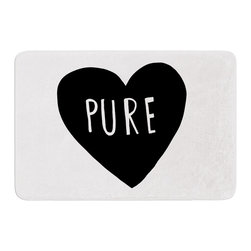 "KESS InHouse - Leah Flores ""Pure Heart"" Black White Memory Foam Bath Mat (17"" x 24"") - These super absorbent bath mats will add comfort and style to your bathroom. These memory foam mats will feel like you are in a spa every time you step out of the shower. Available in two sizes, 17"" x 24"" and 24"" x 36"", with a .5"" thickness and non skid backing, these will fit every style of bathroom. Add comfort like never before in front of your vanity, sink, bathtub, shower or even laundry room. Machine wash cold, gentle cycle, tumble dry low or lay flat to dry. Printed on single side."