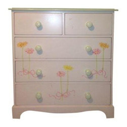 Used Children's Dresser with Ribbon Motif - This sweet, feminine English dresser is a great storage option for a child's room or nursery. The hand painted ribbon and floral motif features mint green, pale pink and bright yellow hues and there are three large drawers and two smaller drawers at the top to hide away your precious treasures.