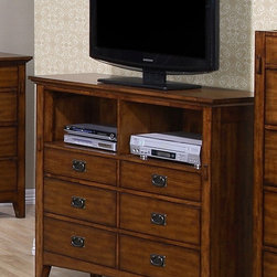 None - Tremont 6-drawer Media Chest - Make organizing your movie collection a breeze with this hardwood media chest. Made of wood with a chesnut finish,this chest provides durability and strength. Featuring cutouts for wiring components,this product prevents clutter.