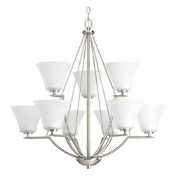 Progress Lighting - Progress Lighting P4625-09 9-Light Chandelier with Etched Glass Shades - Progress Lighting P4625-09 9-Light Chandelier with Etched Glass Shades