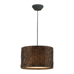 """Uttermost - Uttermost Knotted Rattan Hanging Shade 12.25"""" - Hand rubbed Espresso finish.Designer: Carolyn KinderWattage: 60WDimensions: 12.25"""" heightMaterial: rattan/metal/fabric"""