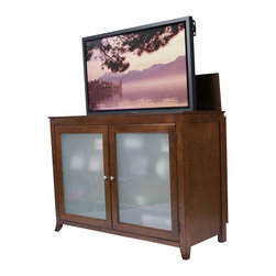 """Brookside TV Lift Cabinet for flat screen TV's up to 55"""" - The Brookside TV Lift Cabinet was one of the first models offered by Touchstone, and it has shown staying power by continuing to be one of our most popular units. If you're looking for a true showpiece to complete your entertainment tableau, the Brookside fits the bill. Its art-caliber design with solid lines and striking good-looks will serve as the focal point for your family or living room."""