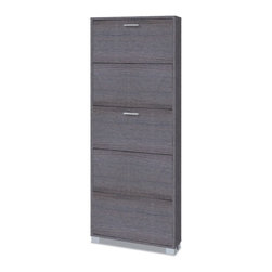 Sarmog - Gray Oak Shoe Rack with 5 Folding Single-Depth Doors - Just the shoe rack for a more contemporary & modern master bath - begin with this shoe rack.
