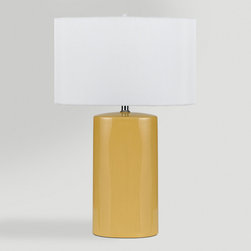 World Market - Yellow Ceramic Table Lamps, Set of 2 - Our Yellow Ceramic Table Lamps are perfect home accents for side tables, nightstands or desks. Each lamp features a ceramic neck in a yellow finish, off-white linen shade and a convenient 3-way switch.