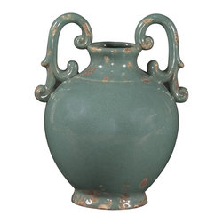 """Howard Elliott - Howard Elliott Glossy Aged Blue Glaze Ceramic Urn with Handles - This rustic ceramic urn is finished in a glossy aged light blue glaze and features ornate handles on the top. The high-style design and high-end materials in the urns are what set Howard Elliott apart from the competition. Howard Elliott�s innovative product line is carefully designed and packaged to ensure low damage rates for their high quality and custom items. Finish/Frame/Fabric Description: Aged Blue Glaze. Material: Ceramic. Product Dimensions: 10"""" x 9"""" x 13""""."""