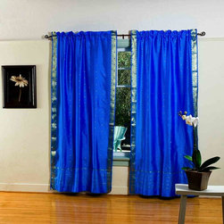 Indian Selections - Pair of Blue Rod Pocket Sheer Sari Curtains, 43 X 120 In. - Size of each curtain: 43 Inches wide X 120 Inches drop