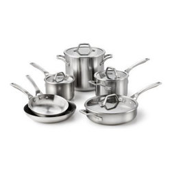 Calphalon AcCuCore - 10 pc. Set - Whether you're a budding chef or you're quite experienced in the kitchen, the Calphalon AcCuCore - 10 pc. Set will be the culinary collection you reach for over and over again. This versatile set includes 8-inch and 10-inch omelet pans, 2-quart and 3-quart sauce pans with lids, a 3-quart saute pan with lid, and a generously sized 8-quart stock pot with lid. You'll appreciate that each pan has five metal layers with copper cores that provide even heating, long handles that stay cool on the stovetop, and each piece is dishwasher-, oven-, and broiler-safe.About CalphalonCalphalon's mission is to be the culinary authority in kitchenwares, enhancing the home chef's food experience during planning, prep, cooking, baking, and serving. Based in Toledo, Ohio, Calphalon is a leading manufacturer of professional quality cookware, cutlery, bakeware, and kitchen accessories for the home chef. Calphalon is a Newell-Rubbermaid company.Calphalon's goal is to give you, the home chef, all the tools you need to realize your highest potential in the kitchen. From your holiday roasting pan to your everyday fry pan, count on Calphalon to be your culinary partner - day in and day out, for breakfast, lunch, and dinner for a lifetime.