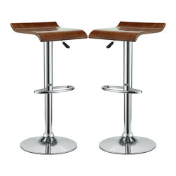 LexMod - Bentwood Bar Stool Set of 2 in Oak - The Bentwood Bar Stool is constructed of a chromed steel frame and base. It has a bent plywood seat with natural wood finishes. This stool operates on an adjustable hydraulic piston. This item is made similar in style to the award winning LEM Piston Stool. Perfect for entertaining guests at your own bar at home, or for stylish seating around the counter.