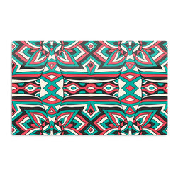 "Kess InHouse - Pom Graphic Design ""Ethnic Floral Mosaic"" Teal Red Aluminum Magnet - Decorate your fridge, locker or cubicle at work with small aesthetic pops of color. Made of a durable aluminum, these premium magnets are hand pressed and measure 3"" x 2"". Great for holding up to do lists, photos or coupons, these small pieces of art can make your fridge your own personal gallery."
