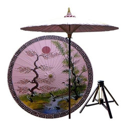Oriental Unlimted - Asian Spring Patio Umbrella in Pristine Pink - Includes Bamboo stand. Handcrafted and hand-painted by master artisans. 100% Waterproof and extremely durable. Umbrella shade can be set at 2 different heights, 1 for maximum shade coverage and the other for a better view of the shade. An optional base, which secures the umbrella rod and shade against strong winds and rain. Patio umbrella rod and base is constructed of stained oak hardwood for a rich look and durable design. Umbrella shade is made of oil-treated cotton. Minimal assembly required. Canopy: 76 in. D x 84 in. HThis extraordinary and artistic patio umbrella depicts the migration of Oriental cranes during the spring season. Each season represents a different part of life with spring being synonymous with rebirth. Through rain and shine this umbrella will provide you with years of shelter for you and your family.