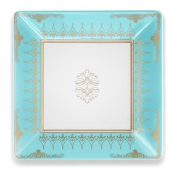 Q Squared NYC - Pembroke Salad Plate Set/6 - Inspired by a family heirloom, Pembroke draws its delicate blue and gold pattern from a vintage English bone china tea set.