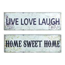 """Woodland Imports - Set of 2 Wall """"Live Laugh Love"""" """"Home Sweet Home"""" Silver Decor - Modern inspirational message set of 2 wall plaques """"live laugh love"""" & """"home sweet home"""" w/ silver finish decor"""