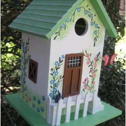 Home Bazaar - Home Bazaar Butterfly Cottage Birdhouse - Green - HB-6002S - Shop for Houses from Hayneedle.com! The Home Bazaar Butterfly Cottage Birdhouse Green offers a charming look to any outdoor decor. This cute cottage features an all wood construction with a delightful floral hand-painted exterior. A white picket fence real shingled roof and removable walls make this a perfect place for your feathered friends to call home.About Home BazaarCombining their love of birds and nature with their technical and design abilities the people of Home Bazaar set out to create the world's most spectacular line of birdhouses and birdfeeders in 1999. They've even created a line of architectural birdhouses feeders pedestals and garden accessories. These items are created using only the finest materials and with painstaking attention to detail. Each product is manufactured for functional use and to be enjoyed for years. Distinctive bird houses and feeders can be matched with accommodating pedestals and these pieces can be placed in the backyard or the garden. Cottage designs and pieces with Victorian scrollwork often end up on covered porches or inside the home as decorative accents.