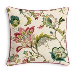 Pink & Blue Jacobean Floral Custom Throw Pillow - Black and white photos, Louis XIV chairs, crown molding: classic is always classy. So it is with this long-time decorator's favorite: the Corded Throw Pillow. We love it in this sophisticated Jacobean floral in bright feminine shades of pink and blue. Perfect for the new traditionalist.