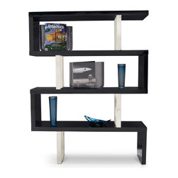 "Zuri Furniture - Lester High Gloss Black and Silver Bookcase - Display your collectibles in style with the Lester bookcase! Its beautiful high gloss finish and metal accents will add that perfect amount of ""mod"" to your space. Available in white or black high gloss."