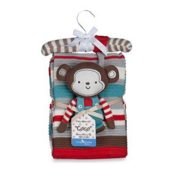 Living Textiles - Lolli Living by Living Textiles Baby Cotton Knitted Blanket & Rattle Toy in Coco - Let your child get a little crazy with Coco the Monkey. This cotton knitted blanket & toy rattle is the perfect gift for baby to snuggle and cuddle with.