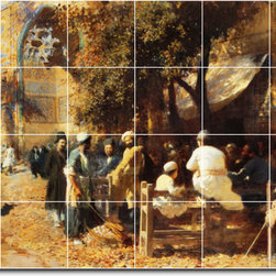 Picture-Tiles, LLC - A Persian Cafe Tile Mural By Edwin Weeks - * MURAL SIZE: 17x25.5 inch tile mural using (24) 4.25x4.25 ceramic tiles-satin finish.