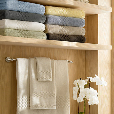Luxor Linens - Valentino Spa Towels, 12-Piece, Tile Grey - From our Valentino Collection comes the Hotel Spa line. Distinctive jacquard checker border design as used on the Queen Mary 2 Luxury Ocean Liner and 5-star Hotels.