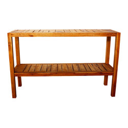 Kammika - Console Table 54Lx16Wx34 inch H Farmed Teak Inlay KD in E Friendly Livos Oak Oil - Our beautiful Farmed Teak Hand Inlay Console Table 54 inch length x 16 inch width x 34 inch height shipped Knocked Down with Eco Friendly, Natural Food-safe Livos Oak Oil Finish is large enough to hold a 50 inch flat screen TV along with a shelf for the entertainment system. This versatile eco friendly functional art piece can also be used as an entry table for standing art or for storage. This sturdy table ships Knocked Down with numbered legs to insert and bolt in place, hidden underneath, with stainless steel hardware. Classic lines made with Farmed Teak exposes the natural grain of the logs presenting an extremely attractive, sturdy, versatile, eco friendly functional art piece. Livos Oak Oil finish creates a water resistant and food safe matte finish. The light and dark portions of wood turn to darker shades of brown over time and the alkaline in the oils creates a honey orange color. There is no oily feel; and cannot bleed into carpets, as it contains natural lacs. Crafted from dense Farmed Teak; water flows off easily; these pieces are great for spas, pools, and other wet areas; they can be used to set up an indoor or outdoor shower or bathing area. They are also great for in home spa set ups and swimming pool rinse off areas. We make minimal use of electric hand sanders in the finishing process. All products are dried in solar or propane kilns. No chemicals are used in the process, ever. Each is kiln dried, sanded, hand rubbed with Livos Oak Oil; and then they are packaged with cartons from recycled cardboard with no plastic or other fillers. The color and grain of piece of Nature will be unique, and may include small checks or cracks that occur when the wood is dried. Sizes are approximate. Products could have visible marks from tools used, patches from small repairs, knot holes, natural inclusions or holes. There may be various separations or cracks on your piece w