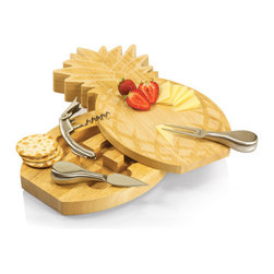 Picnic time - Pineapple Cutting Board w/ tools - Swivel-style cheese board shaped like a pineapple with two stainless steel cheese tools and a corkscrew.
