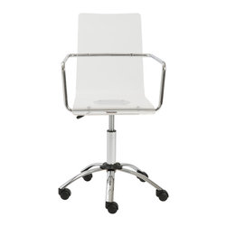 Euro Style - Chloe Office Chair - It's such a relief when a choice is so totally clear. Meet Chloe. A collection of practically shaped chairs and stools with one-piece clear acrylic seats and backs. When clean and simple is at the top of your list Chloe should be too.