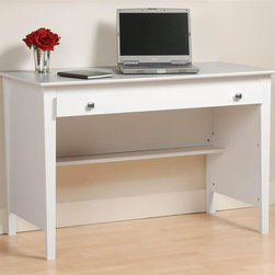 Prepac - Entryway & Home Contemporary Desk w Nickel Kn - Add Hutch: Hutch in WhiteOne wide roll-out drawer. Drawers run smoothly on metal glides with built-in safety stop. Coordinate with matching wall mounted desk hutch. Warranty: Five years. Made from CARB-compliant, laminated composite woods . Made in North America. Assembly required. Internal drawer: 39.5 in. W x 15 in. D x 1.25 in. H. Leg clearance: 40.5 in. W x 19.5 in. D x 24 in. H. Overall: 47.25 in. W x 23.5 in. D x 30.25 in. HThe Contemporary Computer Desk is perfect for your small office or dorm room. Drawer ideal for storing pens, papers, other small items and even your laptop. Its large work surface can accommodate a computer, lamp and any books you need handy. The back of the desk is finished, giving it a tidy look no matter where its placed in your room. This desk offers you value and practicality without compromising your budget.