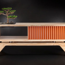 The Morro - This credenza from the Sisters Collection has our signature plywood on edge frame with cut-out for a bonsai or other plant.  Various drawer and door choices available.  Open shelf can be customized with two drawers.
