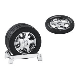 """Kito - 3.43"""" Black Spinner Racing Wheel Coasters with Stand, Set of 4 - This gorgeous 3.43"""" Black Spinner Racing Wheel Coasters with Stand, Set of 4 has the finest details and highest quality you will find anywhere! 3.43"""" Black Spinner Racing Wheel Coasters with Stand, Set of 4 is truly remarkable."""