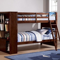 "Acme - Yaffa Espresso Finish Wood Twin Over Twin Bunk Bed Set with Bookcase Foot Board - Yaffa espresso finish wood twin over twin bunk bed set with bookcase foot board built in. This set features a Twin bed over twin size bed with a bookcase foot board for additional built in storage. Measures 90"" x 43"" x 59""H. Some assembly required."