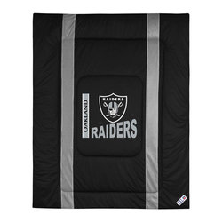 Sports Coverage - NFL Oakland Raiders Queen Comforter Sidelines Football Bed - Features: