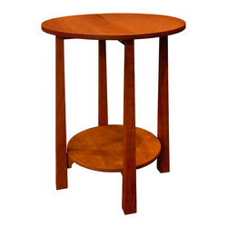 J.C. Sterling fine furniture - Tound Tabouret, Natural Cherry - Handmade contemporary mission round accent table. Natural oil finish.