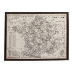 Bassett Mirror Company - Bassett Mirror Company Antique Map of France Framed Art - Antique Map of France Framed Art by Bassett Mirror Company Framed Art (1)